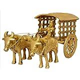 Nexplora Industries Brass Bullock Cart Show Piece Statue for Home Decor(Gold Antique)