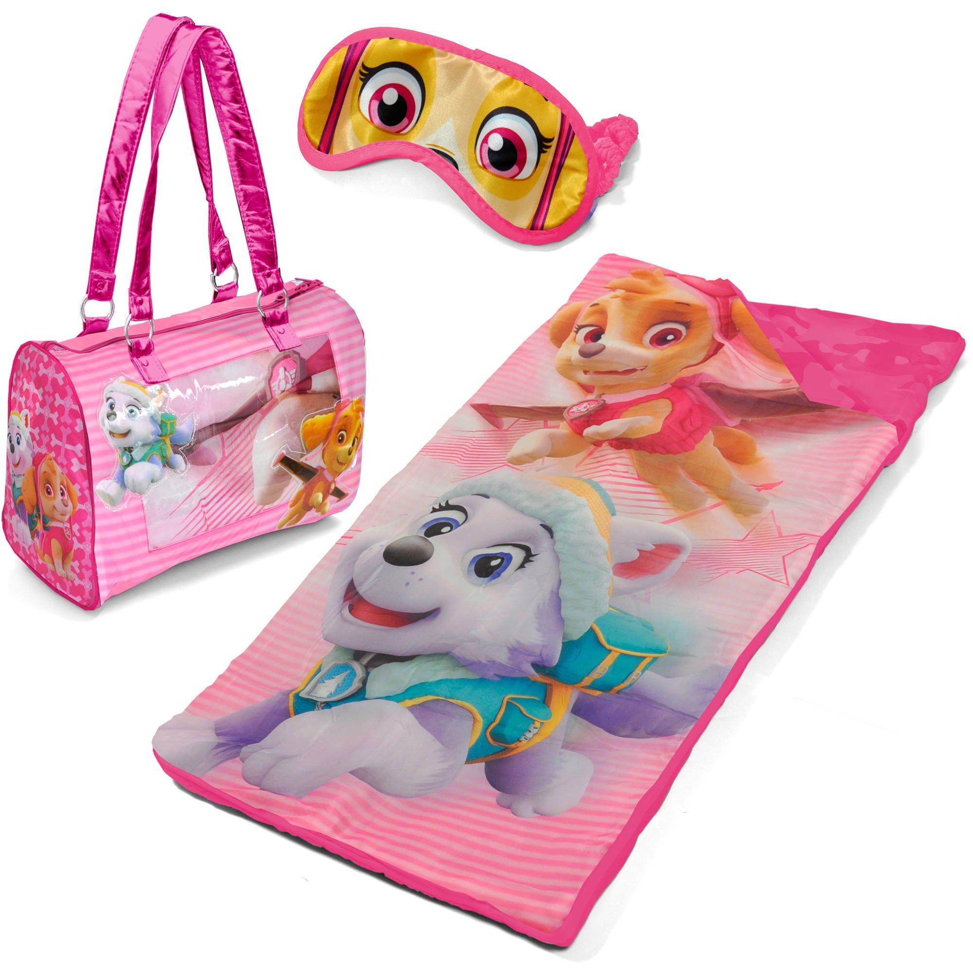 Kids Paw Patrol Sleepover 3 Piece Set with Sleeping bag, Purse Tote and Eye Mask