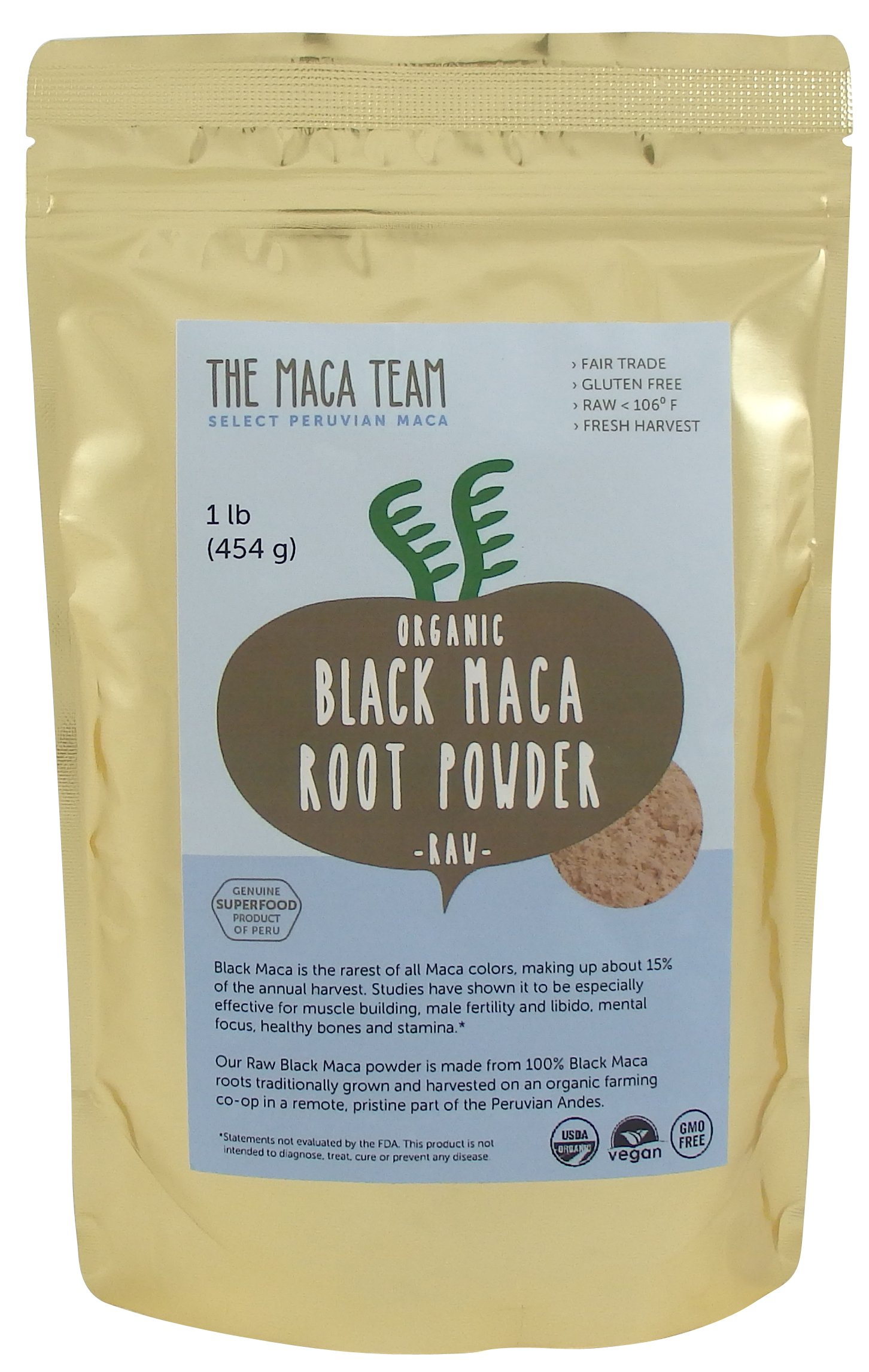 Raw Organic Black Maca Powder, Fresh Harvest From Peru, Fair Trade, Gmo-free, Vegan, Gluten Free, 1 Lb - 50 Servings