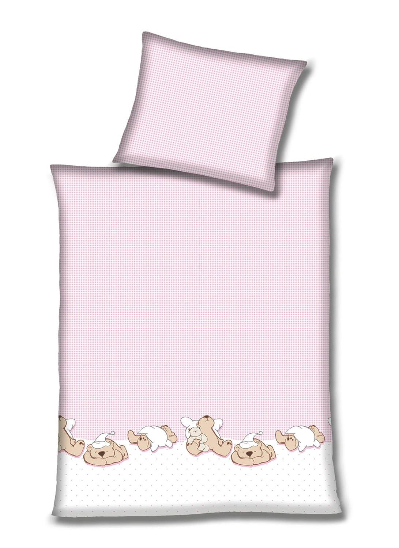 Silbermond Vichy Parure de lit en Flanelle avec Housse de Couette 100 x 135 cm et taie doreiller 40 x 60 cm Rosa Edelflanell
