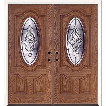 Lakewood Patina 34 Oval Lite Stained Medium Oak Fiberglass Double