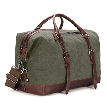 Kattee Canvas Travel Duffle, Holdall Overnight Weekend Bag, Army ...