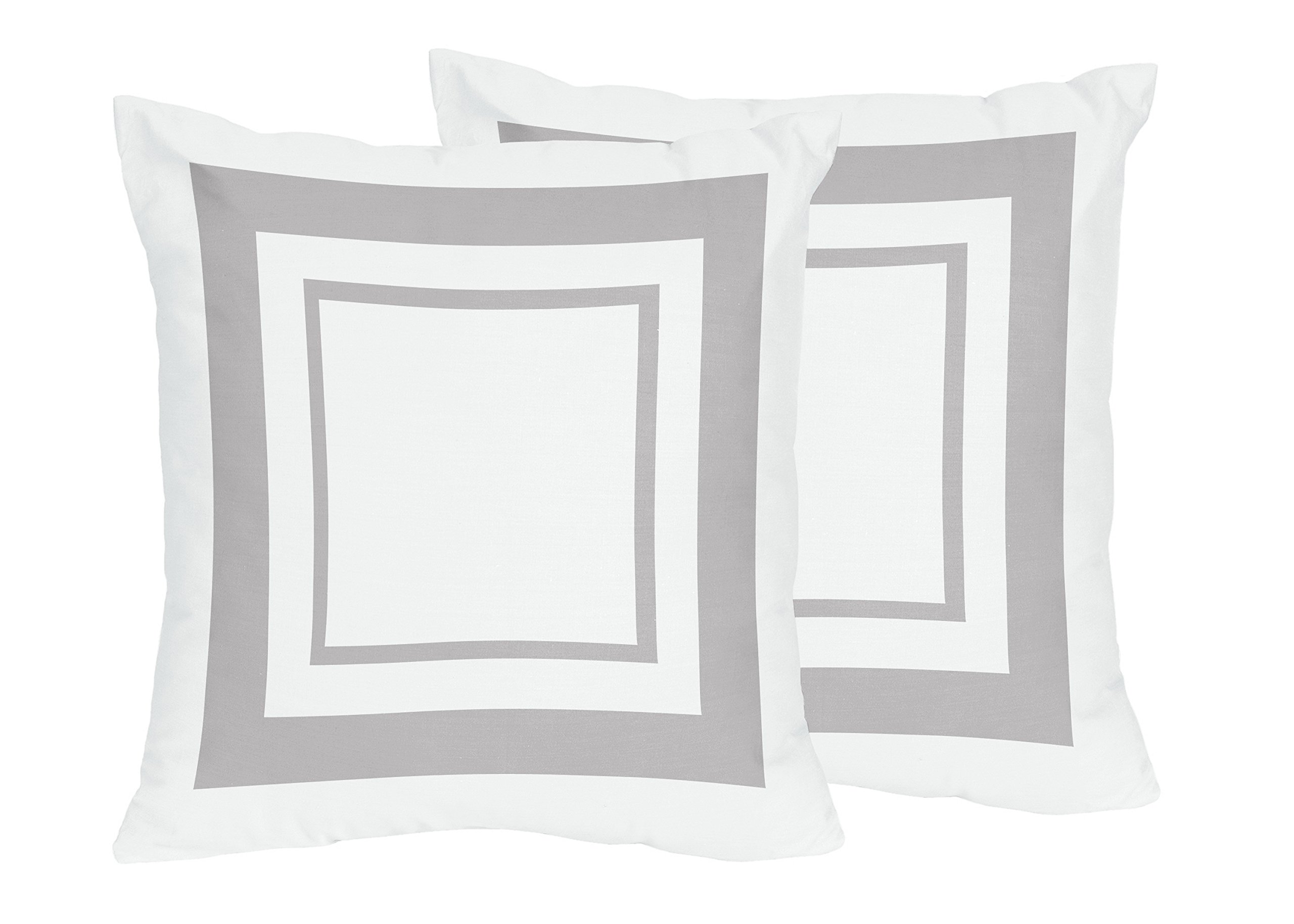 Sweet Jojo Designs 2-Piece Contemporary White and Gray Modern Hotel Decorative Accent Throw Pillows