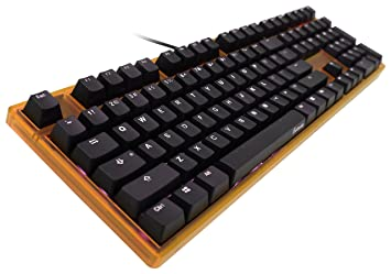 ducky one blue cherry mx switch led mechanical keyboard with orange