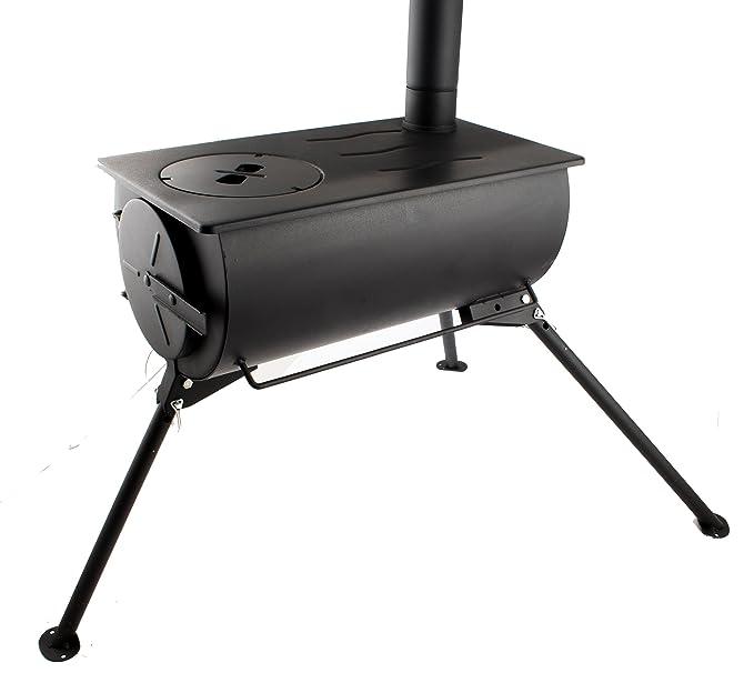 Comodidad portátil estufa de leña calentador de cocina Camping con bolsa de transporte: Amazon.es: Jardín