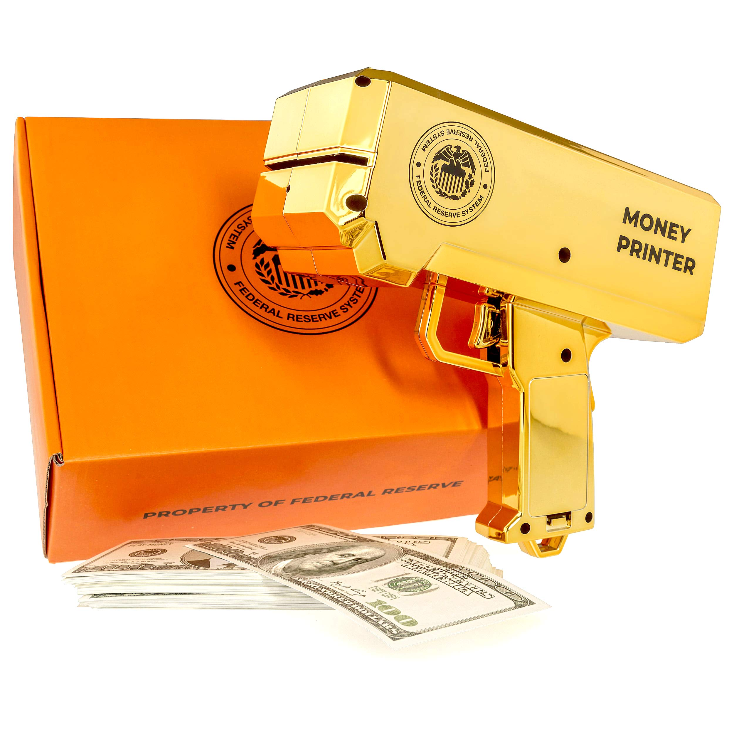 The Money Printer - Golden Money Gun Shooter with Fake Money ($10000 Play Money) - Gift Box Included - Bachelor Party Supplies, Bachelorette Party Games, Birthday Party, Prank Stuff by The Money Printer
