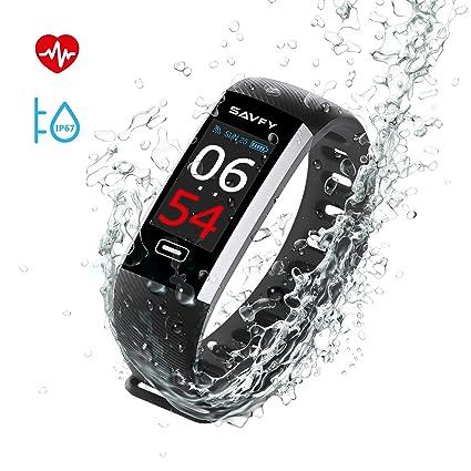 Pulsera Inteligente, SAVFY IP67 Nivel de Resistente al Agua Pulsera Actividad, Ritmo Cardíaco Presión