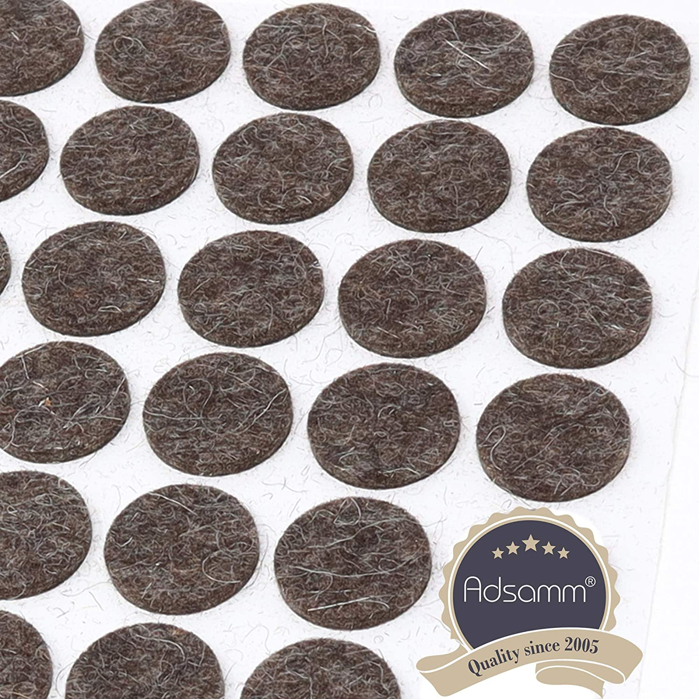 50 tacos de fieltro de lana de 20 mm de di/ámetro autoadhesivos de fieltro de lana Adsamm/® color marr/ón redondos 3 mm de grosor