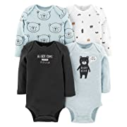 Carter's Baby Boys 4 Pack Bodysuit Set, Baby Bear, 24 Months