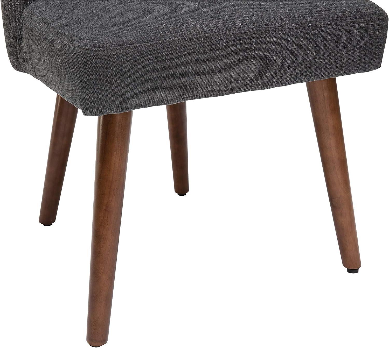 in tessuto grigio e piedi in metallo Set di 2 sedie da sala da pranzo colore: noce 52 x 59 x 87 cm By Demeyere Gaby