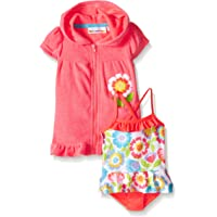 0bedf37ac0 Wippette Baby Girls' Pastel Flowers Swim and Cover Up Set, Knockout Pink, 0