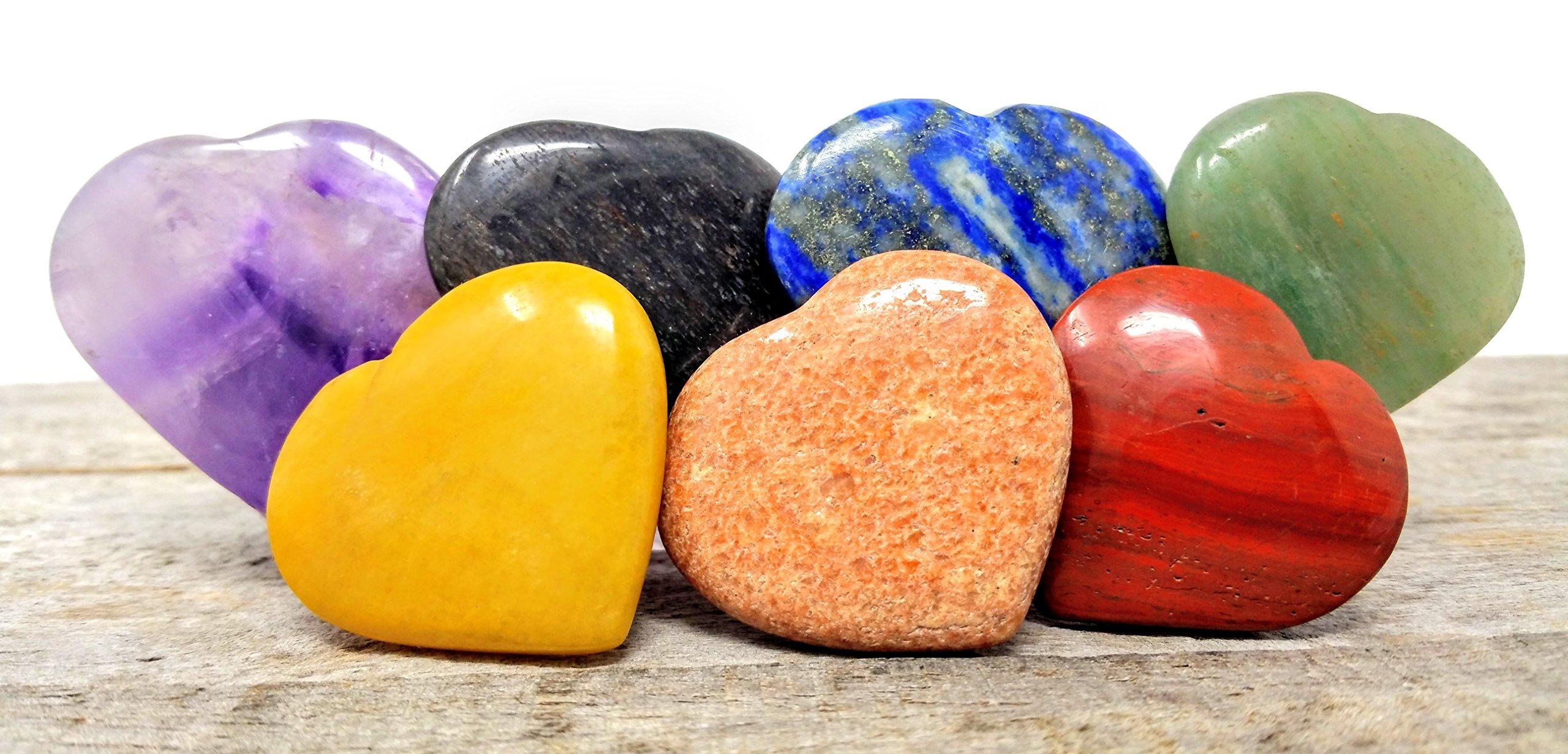 7 pcs Chakra Polished Crystal Healing Stone Heart Love Set/Holistic Balancing Pocket Stones