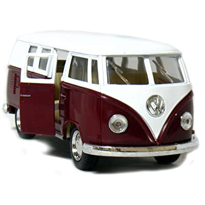 "5"" Die-cast 1962 VW Classic Bus 1/32 Scale (Maroon), Pull Back n Go Action.: Toys & Games"