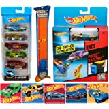 Tons of Hot Wheels Fun Pocket Track Star Stunt Fun Pack Raceway & 5-Car Set Race Vehicles + Straight Race Track Pieces 3ft with Bonus Stickers Thrill Bundle