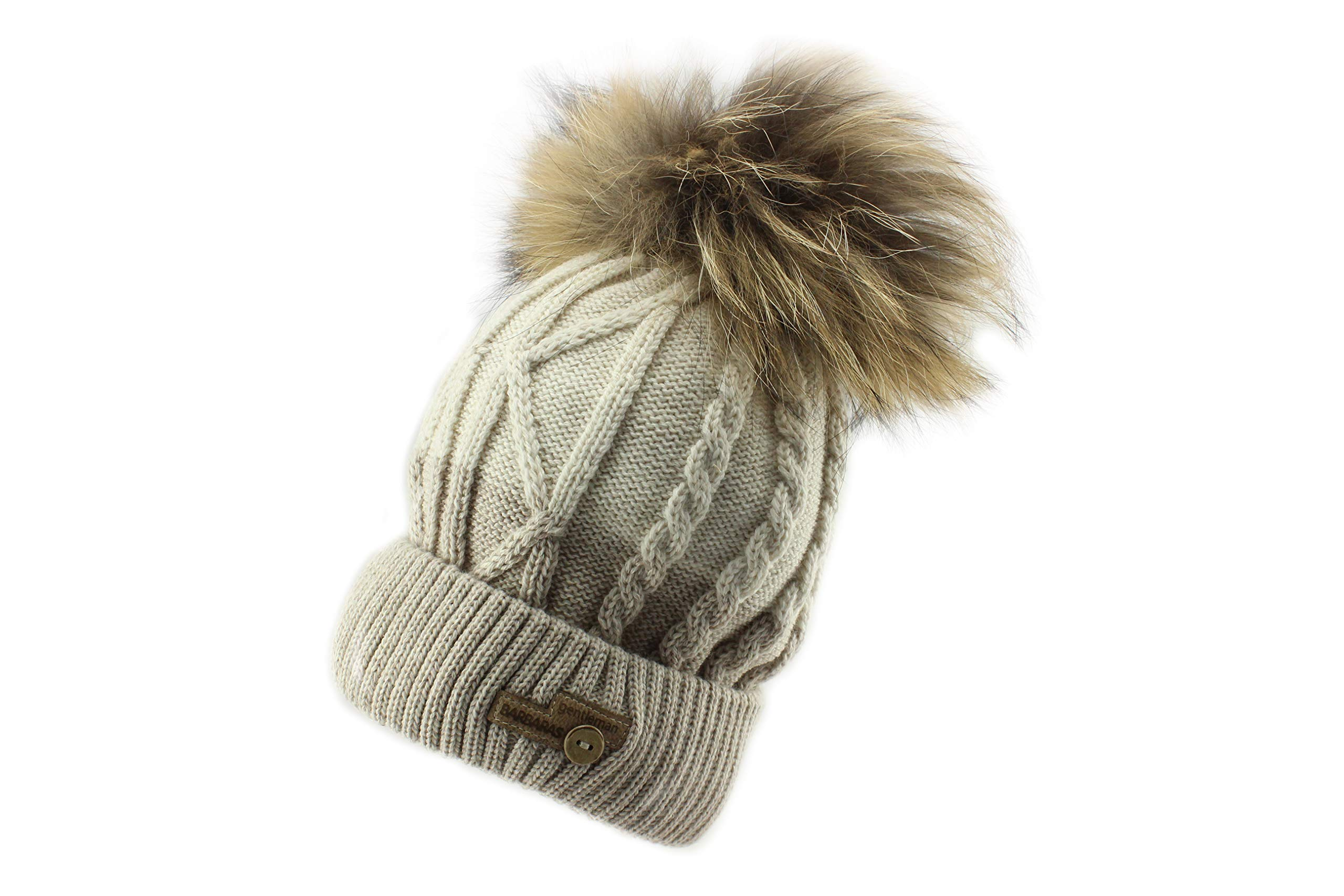Barbaras Boys Brown Warm Winter Natural Fur Pom Pom Beanie Hat with Matching Snood