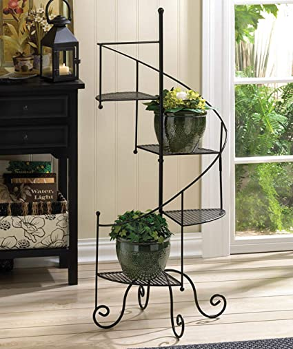 Multi Tiered Plant Stand Black Flower Pot Stands Decorative Plant Display Rack Metal & Amazon.com : Multi Tiered Plant Stand Black Flower Pot Stands ...