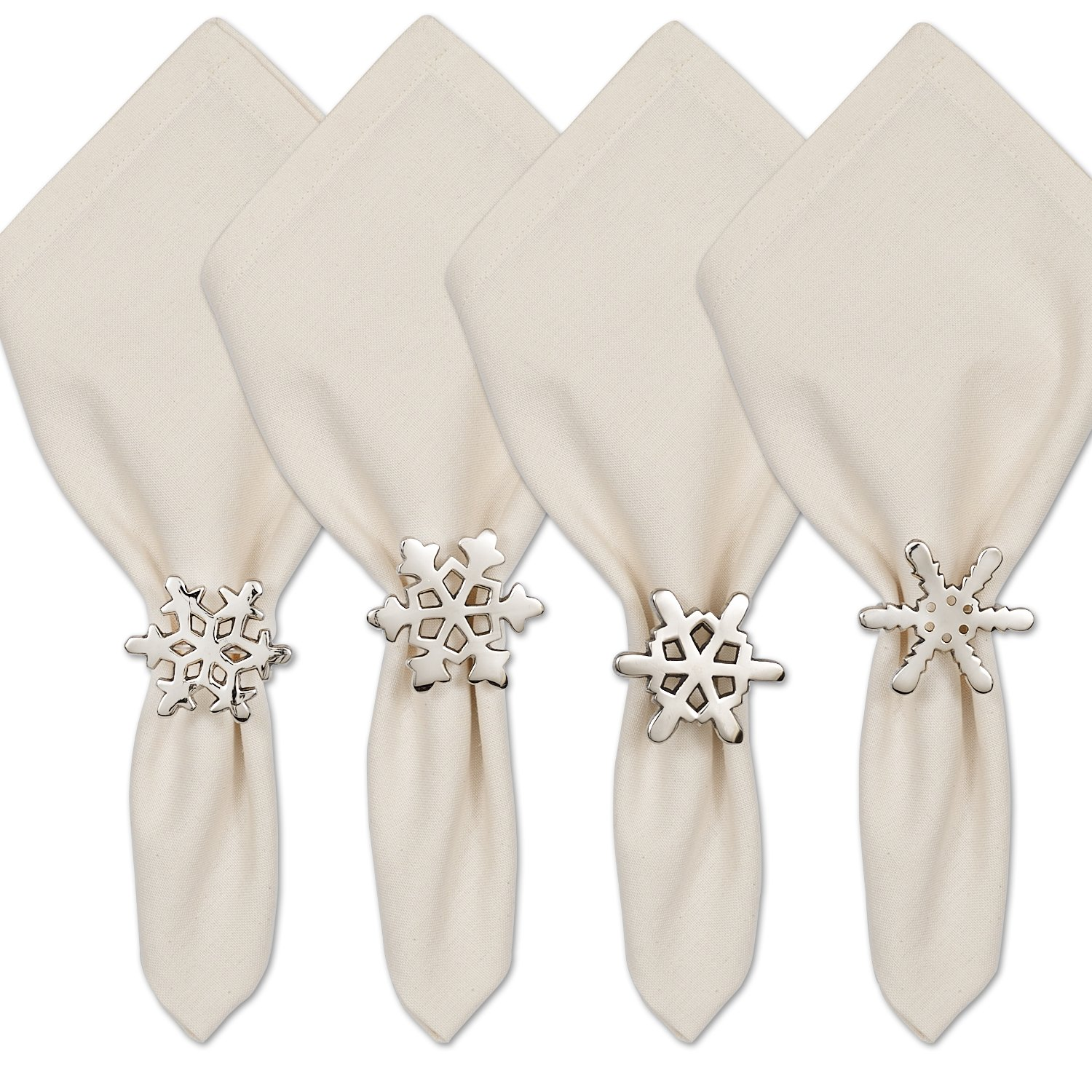 DII Napkin Rings for Holiday Parties, Winter Fun, Wedding Receptions, Family Gatherings, & Everyday Use - Silver Snowflake, Set of 4