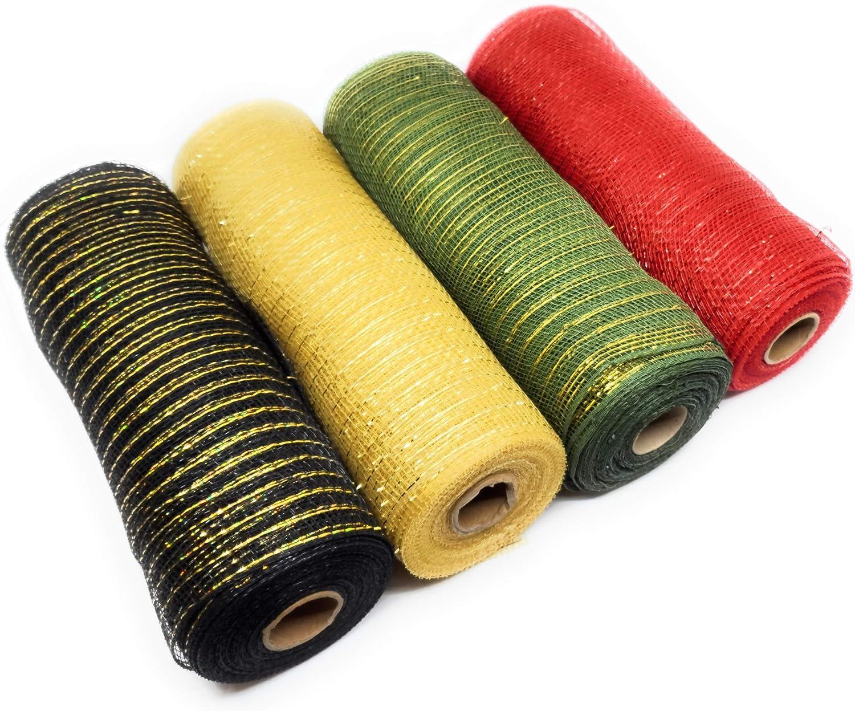 Plaid Christmas Decor 10in Wide, 10yd Decorative Metallic Mesh Rolls (Red, Black, Gold, Moss Green)