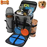 Hilike Premium Pet Travel Bag for Dog & Cat | Week Away Tote Organizer Bag for Dogs Travel | Incudes 1 Dog Tote Bag,1 Dog Food Carrier Bag, 2 Silicone Collapsible Bowls,1 Blanket,1 Frisbee