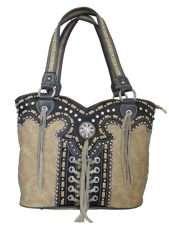 Montana West Concealed Gun Purse Laces and Tassels Design Tan  Handbags   Amazon.com 8e41c60fc7f6f