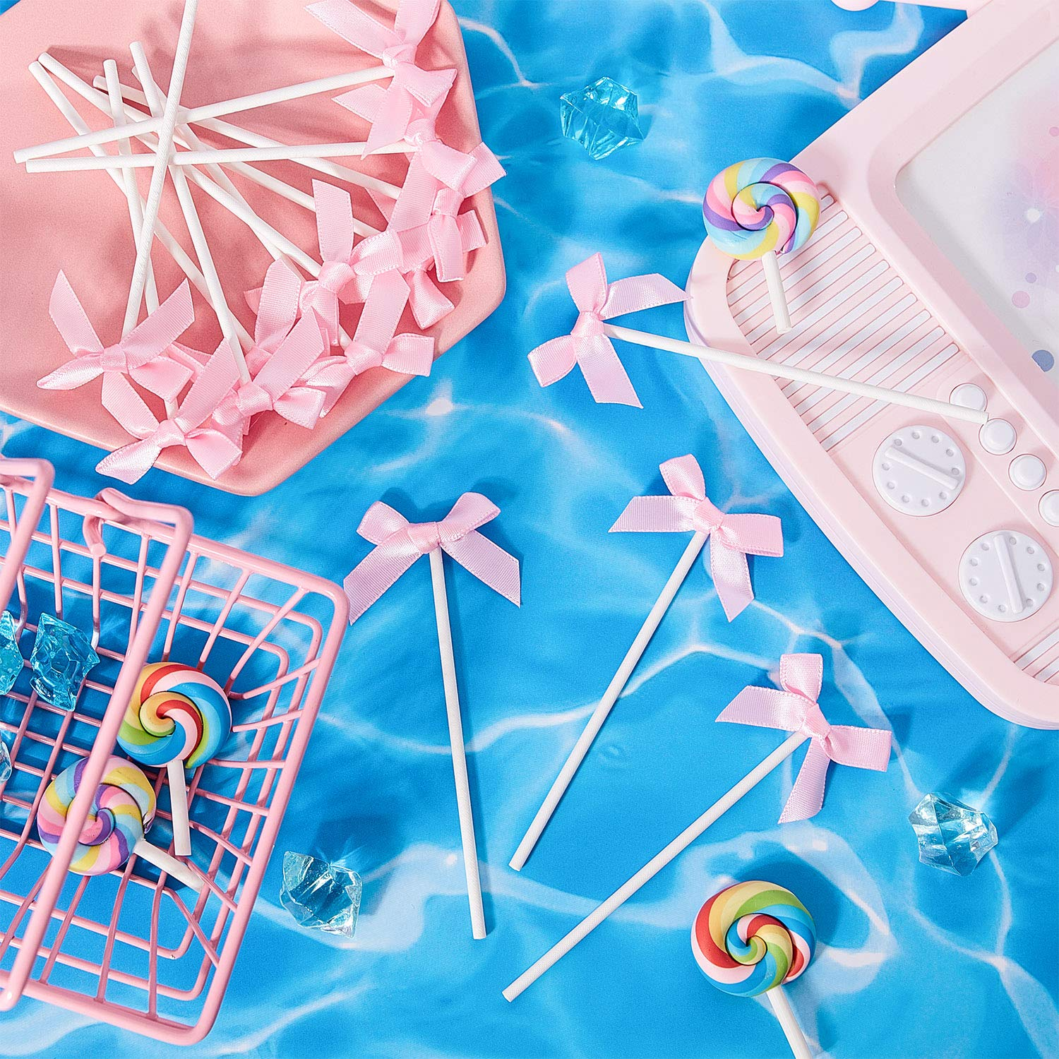 48 Pieces Ribbon Bow Cupcake Toppers Pink Bowknot Cake Toppers for Birthday Baby Shower Wedding Party Decoration Supply