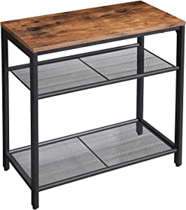 VASAGLE INDESTIC Side Table, 3-Tier Slim End Table with Engineered Wood and Mesh Shelves, Living Room, Industrial Design, Rustic Brown ULET34BX