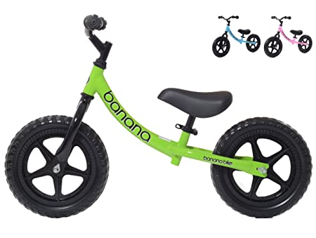 side facing green banana bike lt balance bike