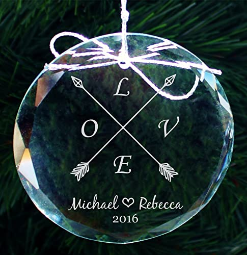 engraved love couples crystal ornament personalized our first christmas ornaments engagement gifts wedding