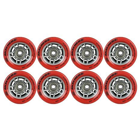 Skechers 4 ruedas Quad Derby ruedas para patines rojo 65 mm x 35 mm con rodamientos