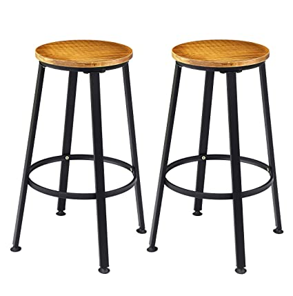 790d3e4a0ca55 Image Unavailable. Image not available for. Color  VILAVITA 2-Set 28 quot   Height Wood Bar Stools ...