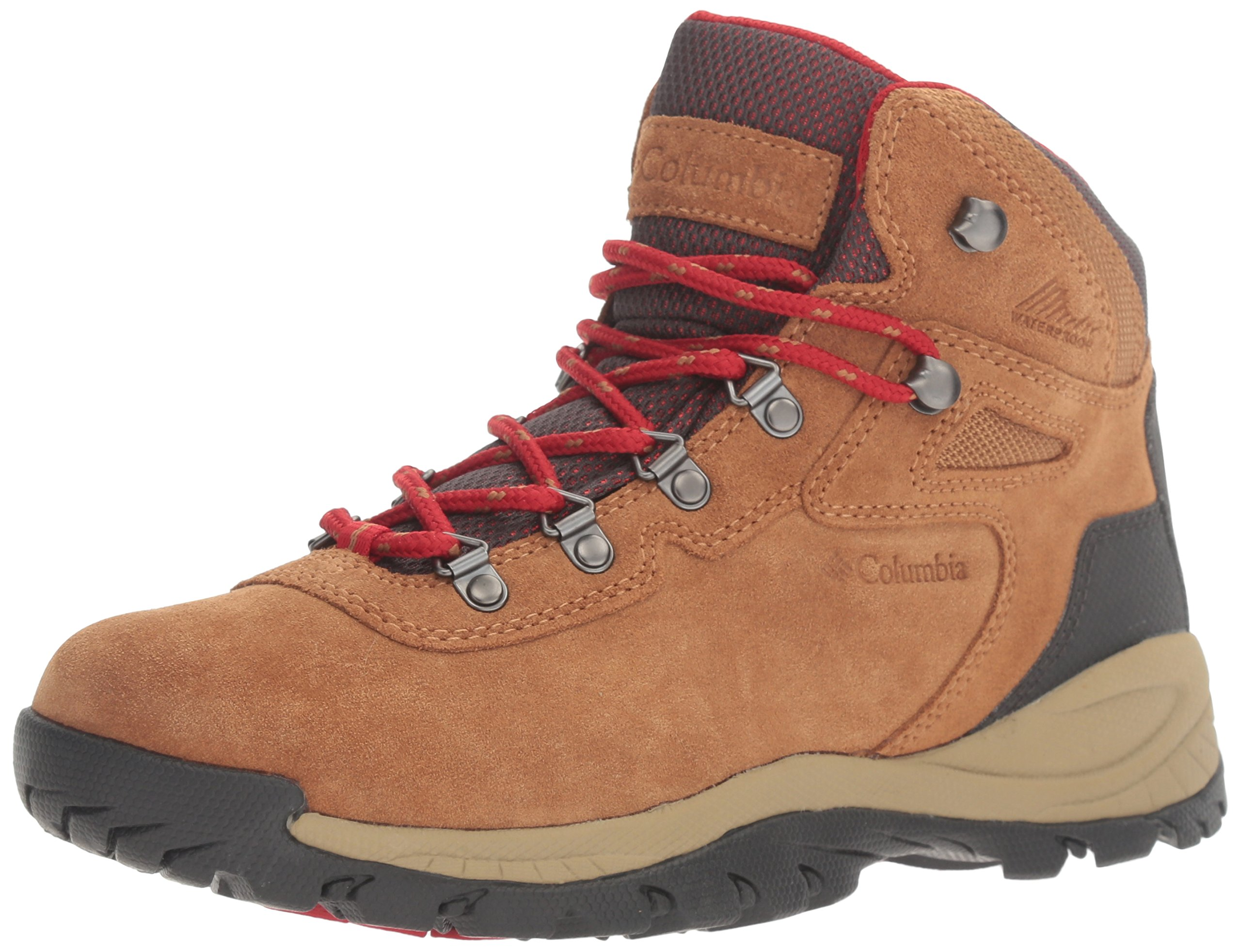 Columbia Women's Newton Ridge Plus Waterproof Amped Hiking Boot, Elk, Mountain Red, 8 B US