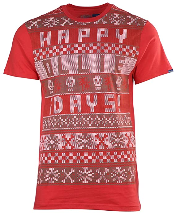 03328a4ec95 Amazon.com  Vans Off The Wall Men s Happy Ollie Days Christmas Tee T-Shirt   Clothing