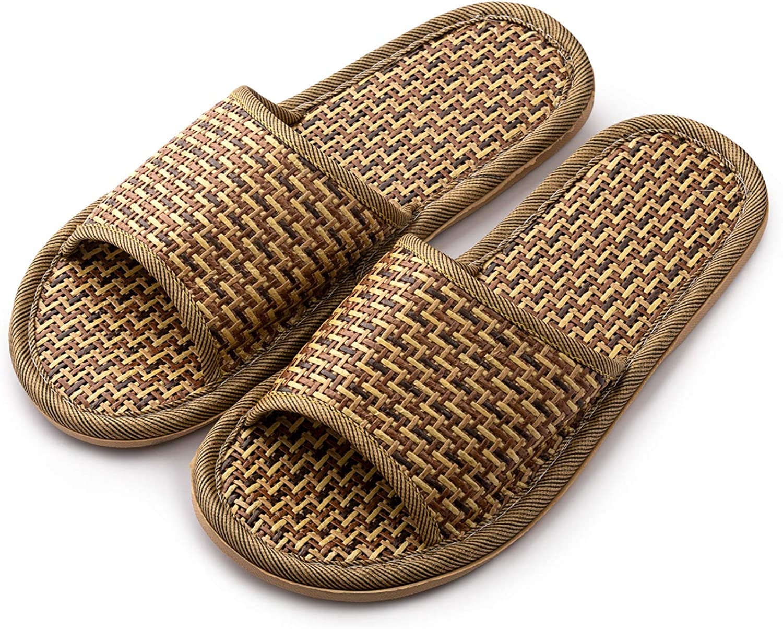 OSVINO Unisex Summer Slippers Bamboo Weave Rattan Open Toe Bath House Sandal Shoes