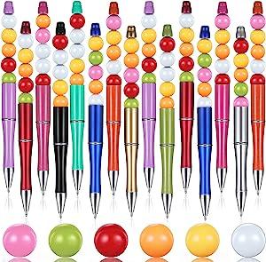 15 Pieces Beadable Pens Bulk Blanks Plastic DIY Ballpoint Pen with 75 Pieces Beads Empty Tube Floating Pens Office School Supplies Suitable for Children's Ballpoint Pen, 10 Colors