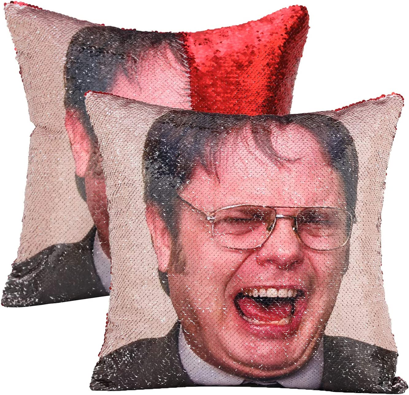 cygnus The Office Dwight Schrute Sequin Pillow Cover Funny Gag Gifts Magic Reversible Home Decorative Cushion Cover 16x16,Red