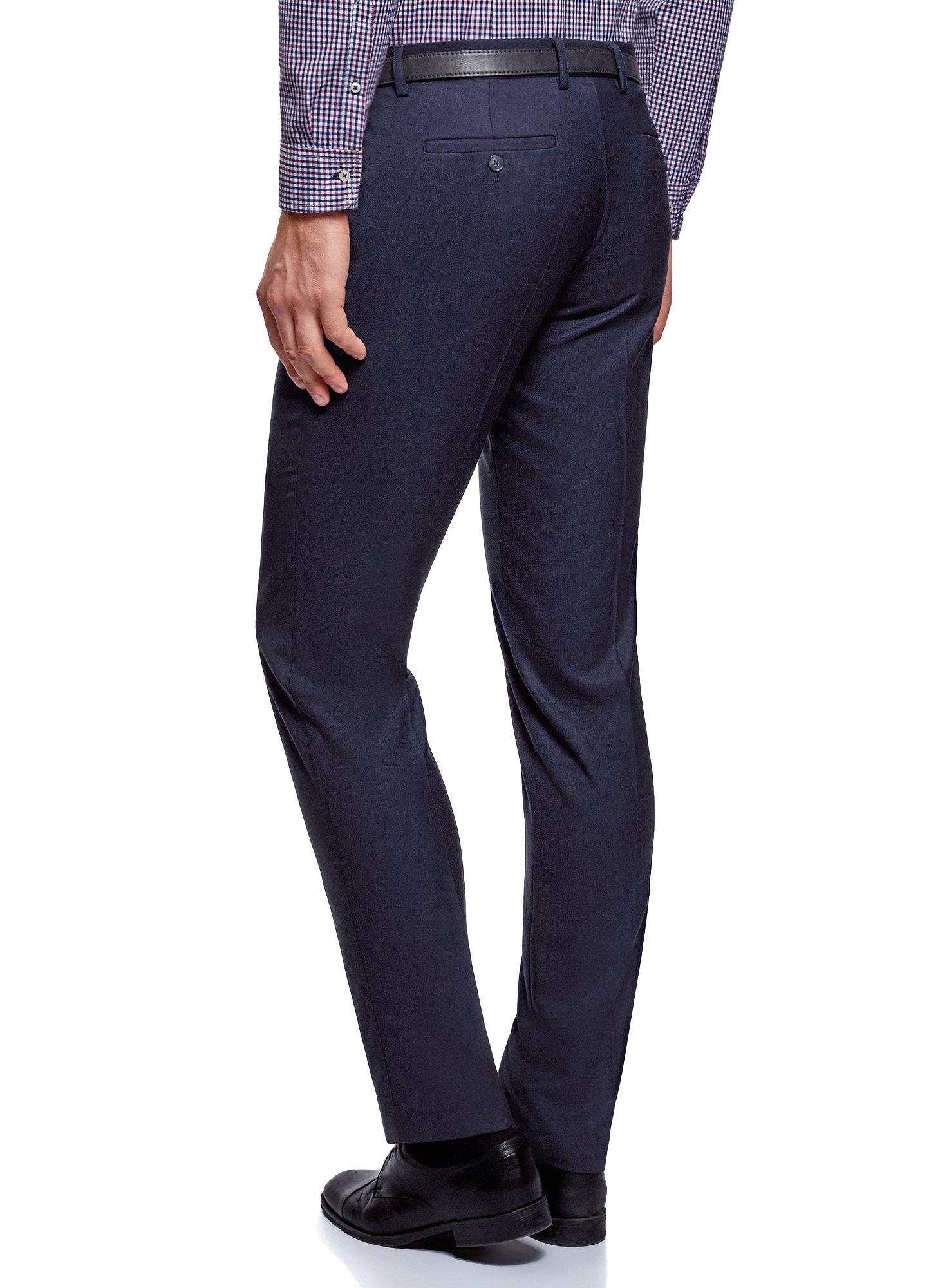 oodji Ultra Men's Basic Slim-Fit Trousers, Blue, US 28 / EU 36 / XS by oodji (Image #2)