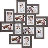 Deknudt Frames S65SV9 - Cadre Multi-Photos - 12 Ouvertures Taupe 10 x 15 cm