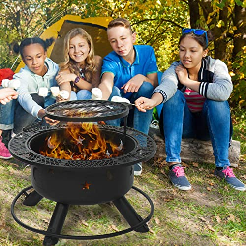 Aoxun 32'' Outdoor Wood Burning Fire Pit Backyard
