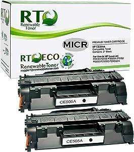 Renewable Toner Compatible MICR Toner Cartridge Replacement for HP CE505A 05A Laserjet P2030 P2035 P2050 P2055 (2-Pack)