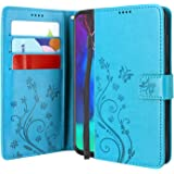 Lacass Floral Butterfly PU Leather Flip Wallet Case Cover Kickstand with Card Slots and Wrist Strap for Motorola Moto G Stylu