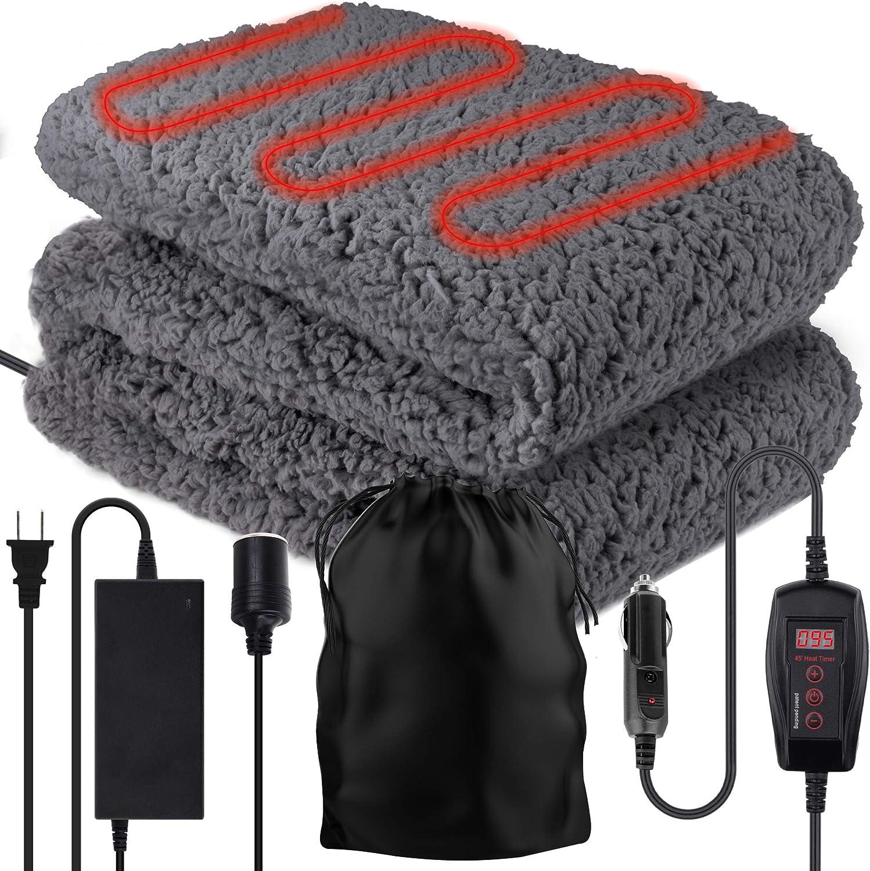 Zone Tech Sherpa Fleece Travel Blanket – Premium Quality 12V Grey Cozy Soft Plush Warm Fuzzy Automotive Comfortable Car Seat 59