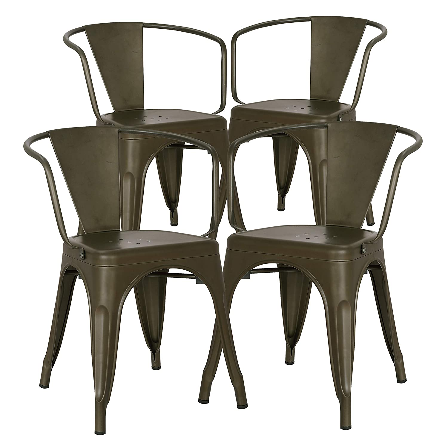 Poly and Bark Trattoria Modern Mid-Century Dining Kitchen Metal Side Arm Chair in Bronze Set of 4