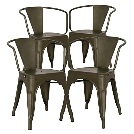 Marvelous Poly And Bark Trattoria Modern Mid Century Dining Kitchen Metal Side Arm Chair In Bronze Set Of 4 Bralicious Painted Fabric Chair Ideas Braliciousco