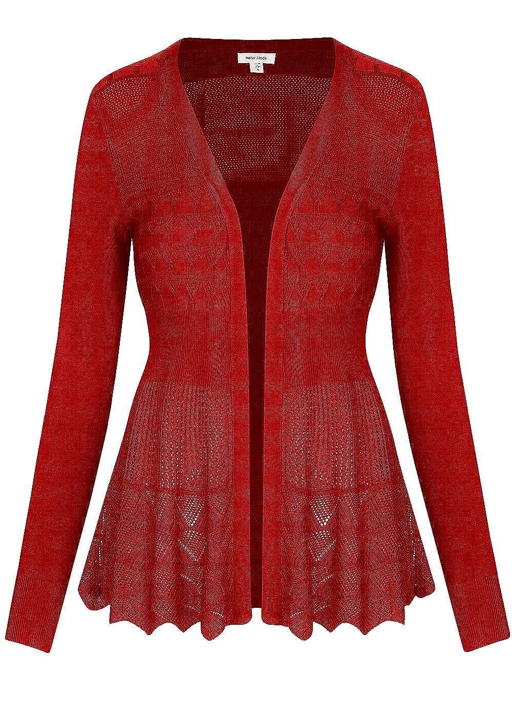 C09115 Red Instar Mode InstarMode Women's Long Sleeve Crochet Knit Sweater Draped Open Cardigan
