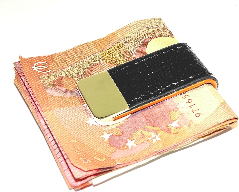 Money Clip Edel und elegant f/ür M/änner mit Stil und Klasse FA.WESSEL Geldscheinklammer Leder mit Edelstahl schw//braun Geldklammer Geldclip