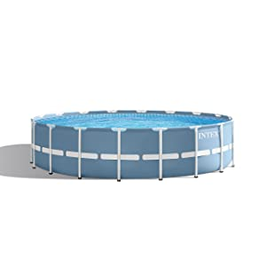 Intex 18ft X 48in Prism Frame Pool Set with Filter Pump, Ladder, Ground Cloth & Pool Cover