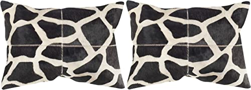 Safavieh Pillow Collection Throw Pillows, 14 by 20-Inch, Antonio Black and White, Set of 2