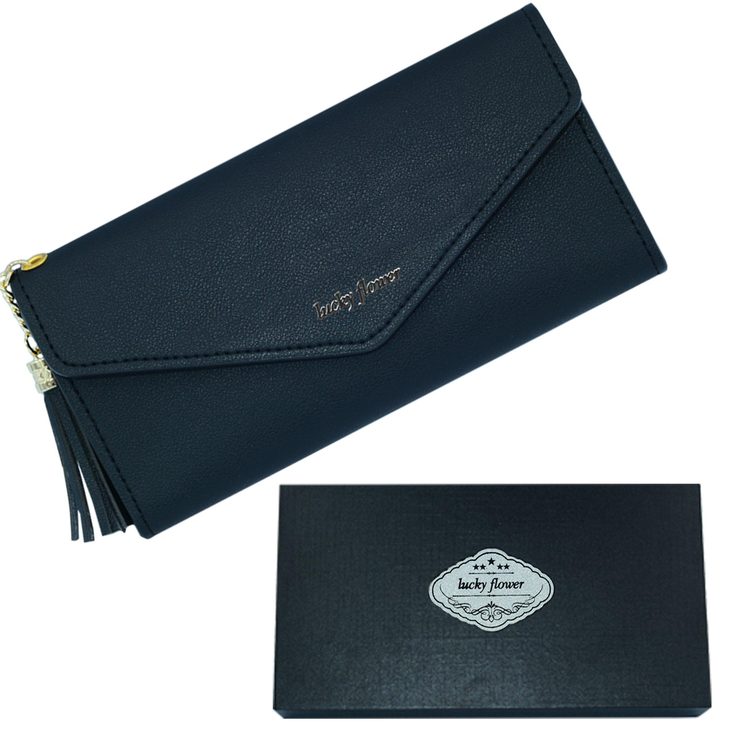 LUCKY FLOWER Travel Wallet Passport Holder, Leather Credit Card Holder Clutch Purse With Zipper Pocket (Black) …