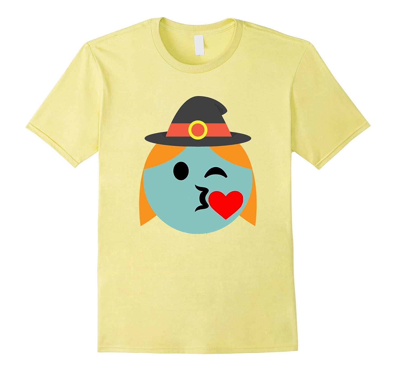 Witch Emoji T-Shirt Heart Kiss Wink Halloween Costume Gift-RT