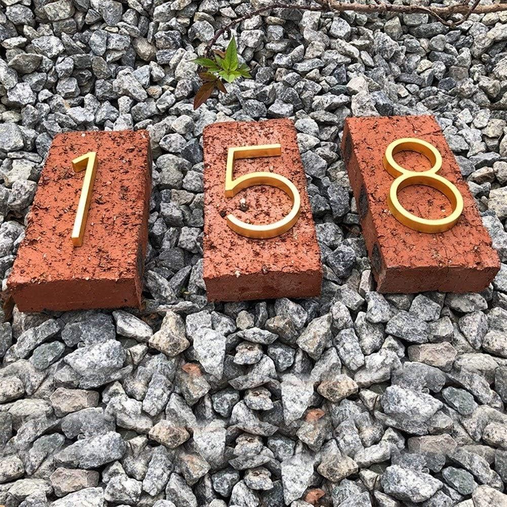 Color : 5 ZMK-720 Num/éro de maison Maison flottante moderne Nombre laiton satin/é Adresse porte Accueil num/éros for House Digital Outdoor Sign 5 plaques pouces.# 0-9